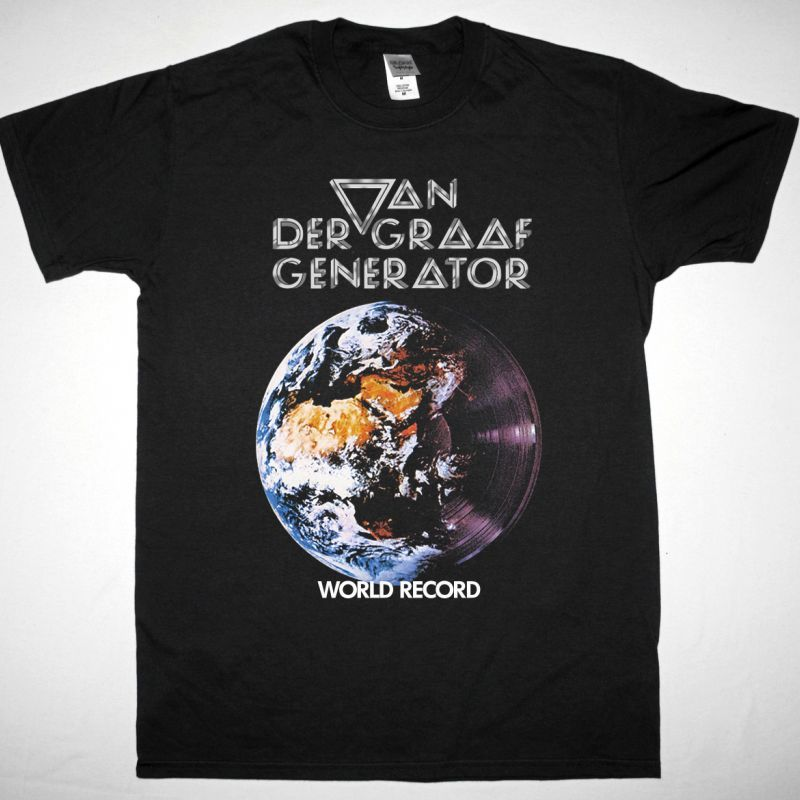 VAN DER GRAAF GENERATOR WORLD RECORD 1976 NEW BLACK T-SHIRT