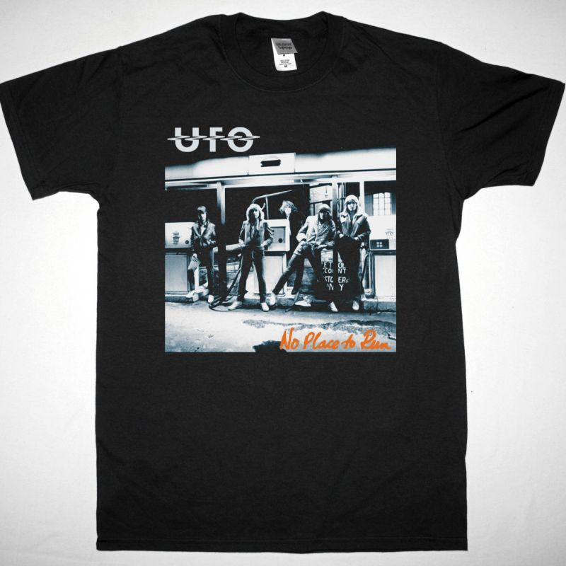 UFO NO PLACE TO RUN NEW BLACK T-SHIRT