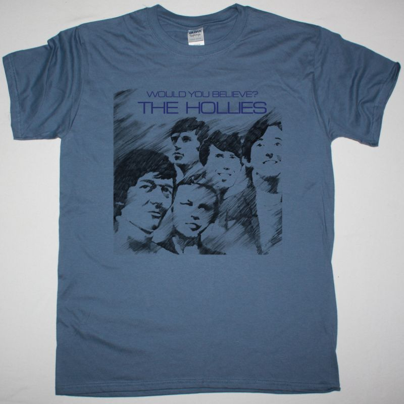 THE HOLLIES WOULD YOU BELIEVE 1966 NEW INDIGO BLUE T SHIRT