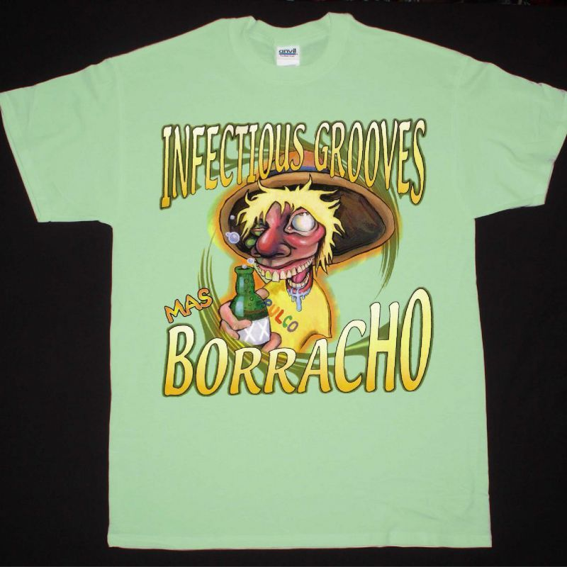 INFECTIOUS GROOVES  MAS BORRACHO NEW MINT GREEN T-SHIRT