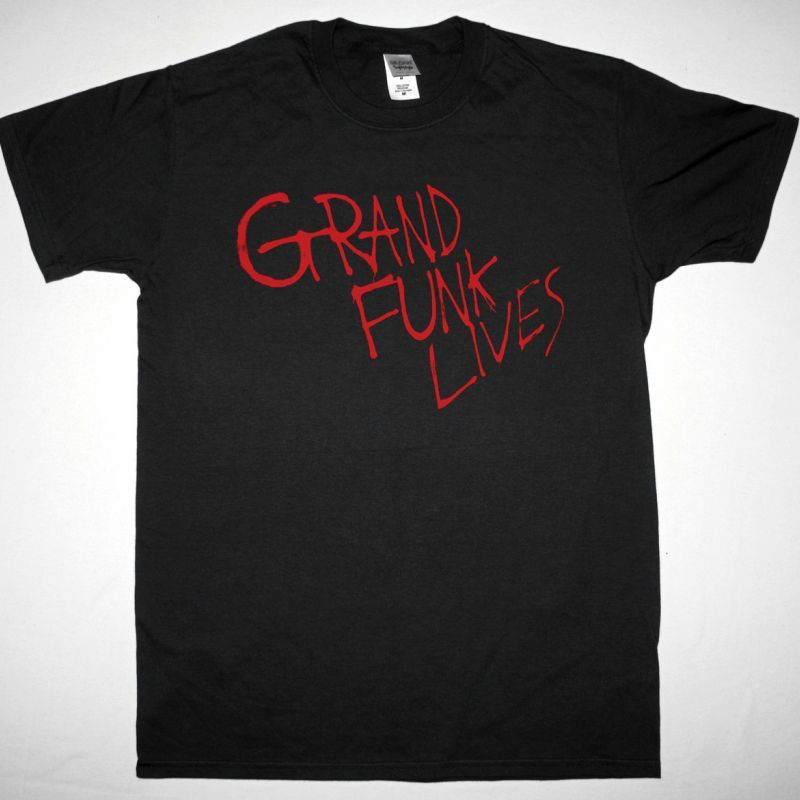 GRAND FUNK RAILROAD GRAND FUNK LIVES NEW BLACK T-SHIRT