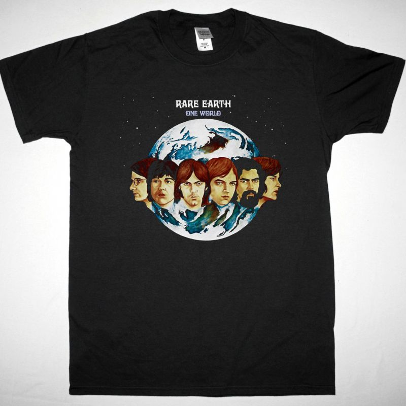 RARE EARTH ONE WORLD 1971 NEW BLACK T SHIRT
