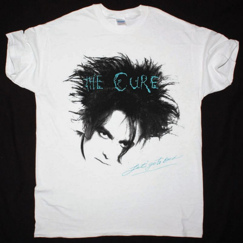 THE CURE LET'S GO TO BED NEW WHITE T-SHIRT
