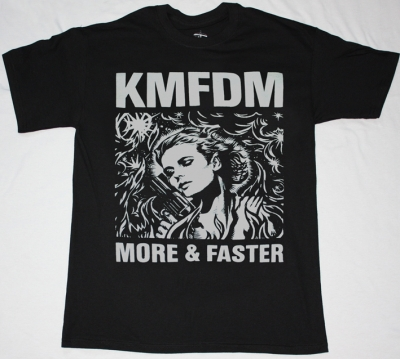 KMFDM MORE & FASTER NEW BLACK T-SHIRT