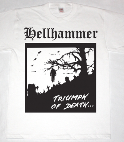 HELLHAMMER TRIUMPH OF DEATH'83 NEW WHITE T-SHIRT