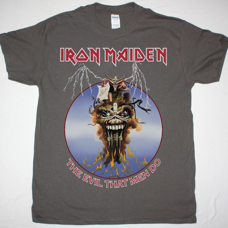 IRON MAIDEN THE EVIL THAT MEN DO NEW GREY T SHIRT