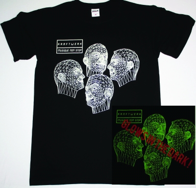 KRAFTWERK GLOW IN THE DARK MUSIQUE NON STOP ROBOTS NEW BLACK T-SHIRT