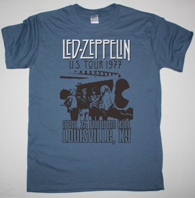 LED ZEPPELIN US TOUR 1977 NEW INDIGO BLUE T-SHIRT