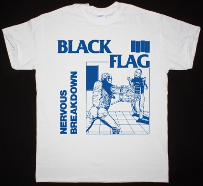 BLACK FLAG NERVOUS BREAKDOWN NEW WHITE  T SHIRT