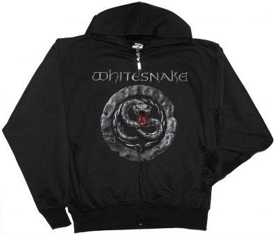 WHITESNAKE GREY SIGN NEW BLACK ZIPPED HOODIE
