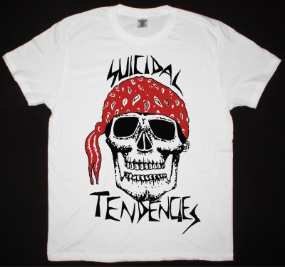 SUICIDAL TENDENCIES BANDANA SKULL NEW WHITE T-SHIRT