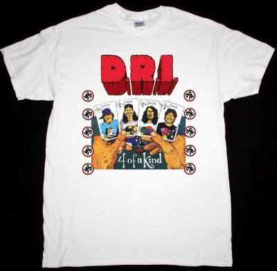 D.R.I. FOUR OF A KIND NEW WHITE T-SHIRT