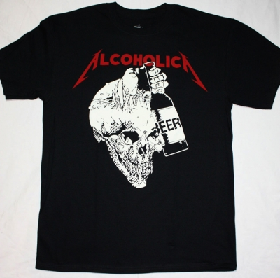 METALLICA ALCOHOLICA 2 NEW BLACK T-SHIRT