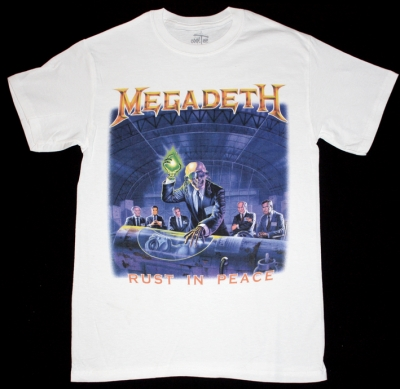 MEGADETH RUST IN PEACE'90 NEW WHITE T-SHIRT