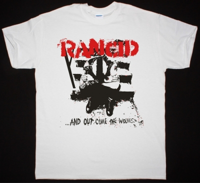 RANCID AND OUT COME THE WOLVES NEW WHITE T-SHIRT