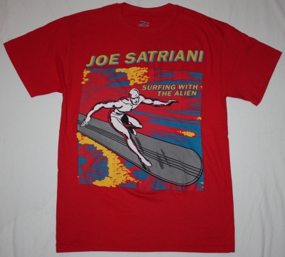 JOE SATRIANI SURFING WITH THE ALIEN'87 NEW RED T-SHIRT