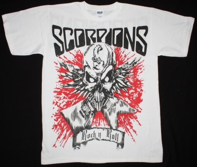 SCORPIONS ROCK N ROLL  JUMBO PRINT NEW WHITE T-SHIRT