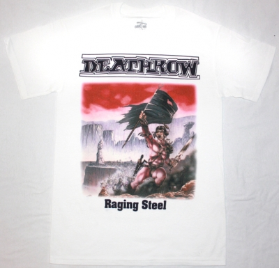 DEATHROW RAGING STEEL'87 NEW WHITE T-SHIRT