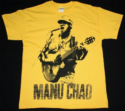 MANU CHAO EN VIVO JUMBO PRINT NEW YELLOW T-SHIRT