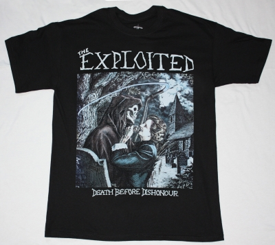 THE EXPLOITED DEATH BEFORE DISHONOUR'87 NEW BLACK T-SHIRT
