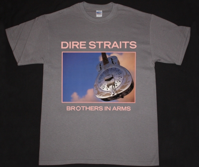 DIRE STRAITS BROTHERS IN ARMS 85 NEW GREY CHARCOAL T-SHIRT