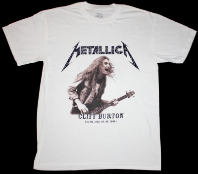 METALLICA CLIFF BURTON BASS GUITAR NEW WHITE T-SHIRT