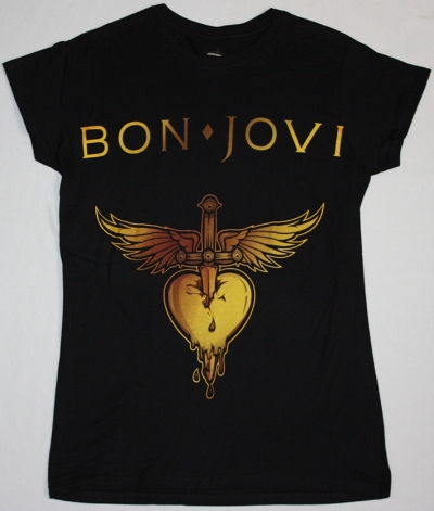BON JOVI GREATEST HITS LOGO NEW BLACK LADY T-SHIRT