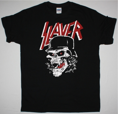SLAYER SKULL HELMET NEW BLACK T SHIRT