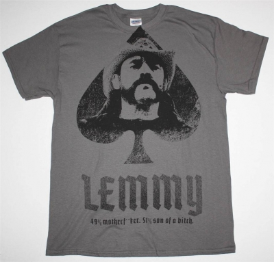 LEMMY MOTORHEAD JUMBO PRINT NEW GREY CHARCOAL T-SHIRT