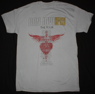 BON JOVI BECAUSE WE CAN THE TOUR EUROPE 2013 NEW LIGHT GREY T SHIRT