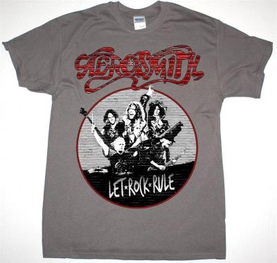 AEROSMITH AEROSMITH LET ROCK RULE TOUR 2014 NEW GREY CHARCOAL T-SHIRT