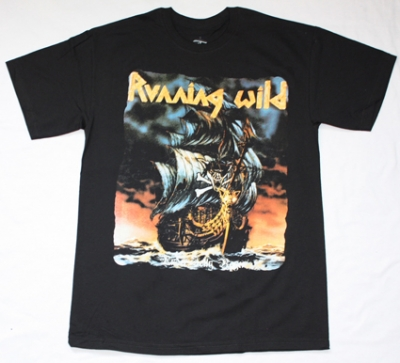 RUNNING WILD UNDER JOLLY ROGER 1987  NEW BLACK T-SHIRT