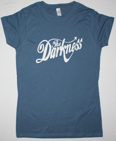 THE DARKNESS WHITE LOGO NEW INDIGO BLUE LADY T-SHIRT