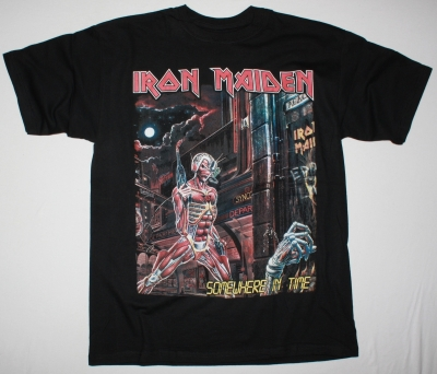 IRON MAIDEN SOMEWHERE IN TIME 1986 NEW BLACK T-SHIRT