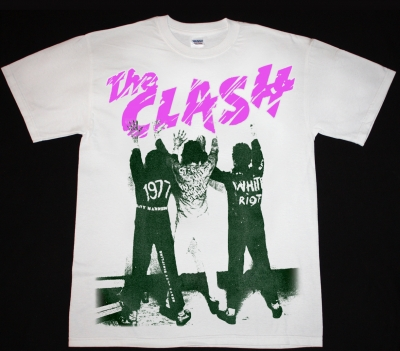 THE CLASH WHITE RIOT NEW RARE WHITE T-SHIRT