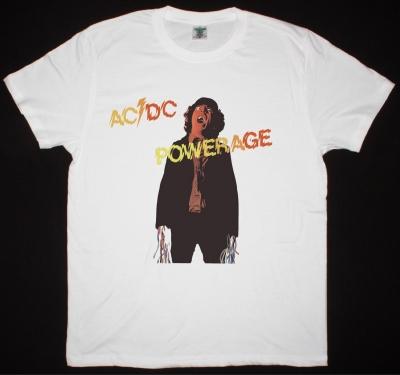 AC DC POWERAGE 1978 AC/DC NEW WHITE T-SHIRT