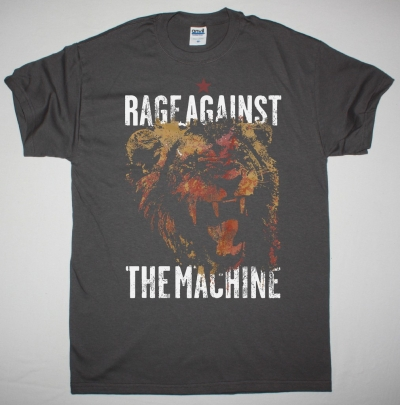 RAGE AGAINST THE MACHINE LION NEW GREY CHARCOAL T-SHIRT