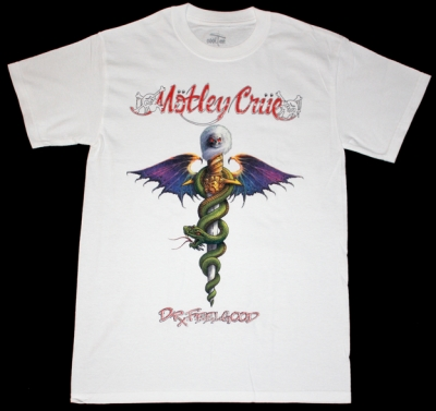 MOTLEY CRUE DR.FEELGOOD'89 NEW WHITE T-SHIRT