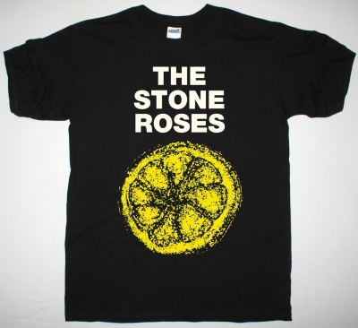 THE STONE ROSES LEMON NEW BLACK T-SHIRT