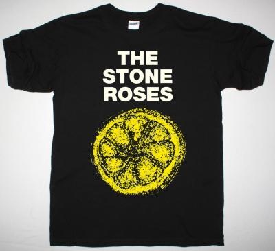 THE STONE ROSES LEMON NEW BLACK T-SHIRT