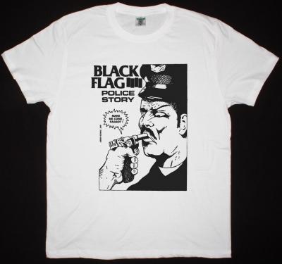 BLACK FLAG POLICE STORY NEW WHITE T SHIRT