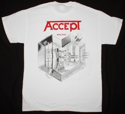 ACCEPT METAL HEART'85 NEW WHITE T-SHIRT