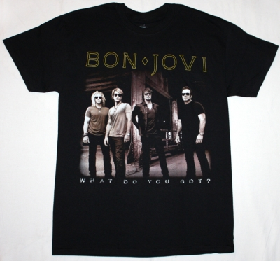 BON JOVI WHAT DO YOU GOT? BAND PHOTO NEW BLACK T-SHIRT