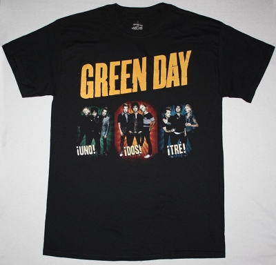 GREEN DAY BAND UNO DOS TRES NEW BLACK T-SHIRT