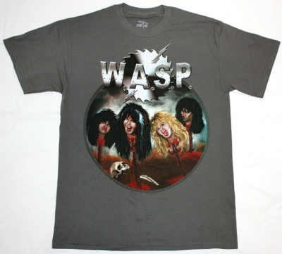 W.A.S.P. HEADS NEW GREY T-SHIRT