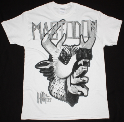 MASTODON THE HUNTER HEAD JUMBO PRINT NEW WHITE T-SHIRT