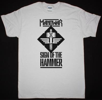 MANOWAR SIGN OF THE HAMMER 1984 NEW ICE GREY T-SHIRT