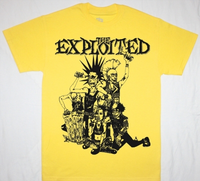 THE EXPLOITED PUNK CREW NEW YELLOW T-SHIRT