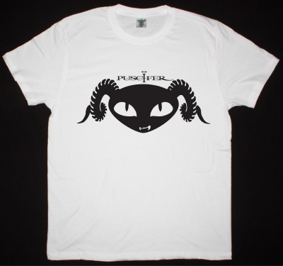 PUSCIFER LOGO NEW WHITE T-SHIRT