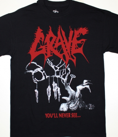 GRAVE YOU'LL NEVER SEE...'92 NEW BLACK T-SHIRT